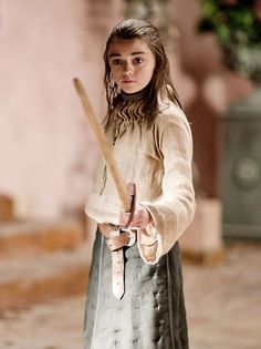 Arya Stark, youngest daughter of Ned and Catelyn Stark, learns how to sword fight.