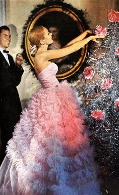 Vintage Pink Christmas, funny this is how I feel I look when decorating my tree! Lol