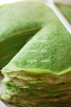 Fragile layers melt in your mouth of this delicate matcha Green tea crepe cake light dessert for a hot day! Green Tea Crepe Cake, Green Tea Dessert, Matcha Dessert, Matcha Cake, Waffles, Pancakes, Green Tea Recipes, Green Tea Powder, Asian Desserts