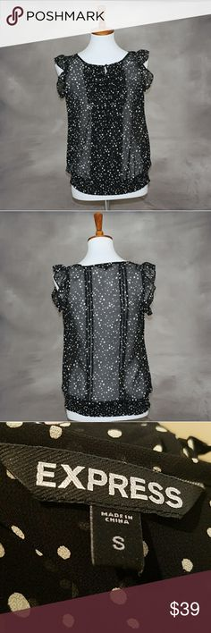 Express polka-dot ruffle blouse. Elastic waist. S Express polka-dot ruffle blouse. Elastic waist. S. Black with white dots. Excellent condition. Express Tops Blouses