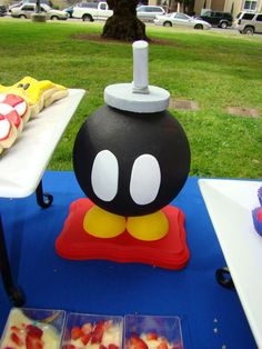 This is a party decoration but can easily made into a cake for a Mario fan which I did using a sportsball baking pan.
