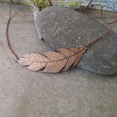 Copper brown feather painted wood necklace by CrowsdanceDesigns, $35.00 USD