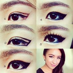 kpop makeup, eyeliner makeup, Mistine, how to apply eyeliner, korean inspired makeup, korean eye makeup, 2ne1, dara, cl, park bom, minzy,