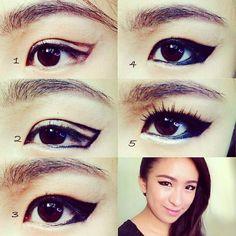 kpop makeup, eyeliner makeup, Mistine, how to apply eyeliner, korean inspired makeup, korean eye makeup, 2ne1, dara, cl, park bom, minzy,