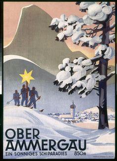 vintage ski poster - Oberammergau Hermann Keimel