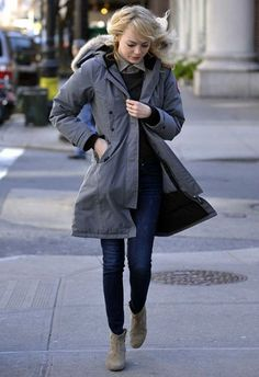 emma stone - New York March 2013 : rag & bone the skinny dover jeans, isabel marant dicker boots, canada goose kensington parka