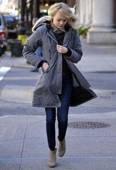 emma stone - New York March 2013 : rag & bone the skinny dover jeans, isabel marant dicker boots, canada goose kensington parka