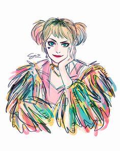 Birds Of Prey and Perfect Harley Quinn ❤️❤️❤️❤️❤️🖤🖤🖤🖤 💣💣💣💣💣 Harley Quinn Drawing, Harley Quinn Cosplay, Joker And Harley Quinn, Queen Drawing, Margot Robbie Harley, Harely Quinn, The Villain, Cute Drawings, Comic Art