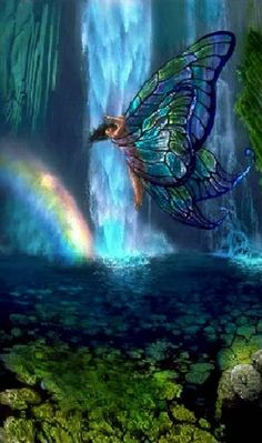 #Stained-glass Wings...#fairy #fantasy #faerie #waterfall #pond #blue #stained-glass