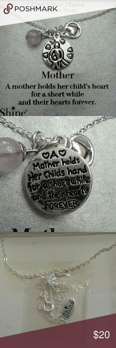 """Mother Daughter Charm Necklace Fine silver plated charm necklace. Engraved charm reads """"A mother holds her child's heart for a short while and their hearts forever"""" Princess length with thin chain with little heart, stone, and shine bangles.  Perfect for mother's day! Comes in gift box. Shine Jewelry Necklaces"""