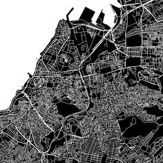 Izmir, Turkey, downtown vector map.  Art print pattern. White streets, railways and water on black. Bigger bridges with outlines. This map will show o... ... #download #vector #map #stockimage #black #urban #area