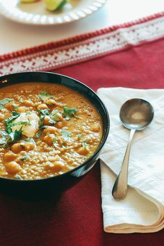 A recipe for a hearty soup made with red lentils, quinoa, chickpeas and Indian spices.  Click through to see the recipe.