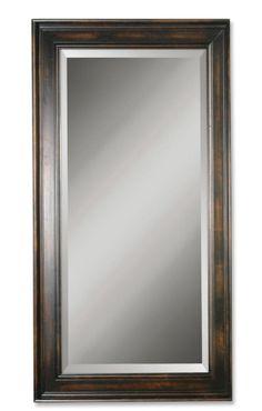 TUSCAN XL Large Solid Wood FLOOR MIRROR Espresso/Black Beveled Dressing Leaner