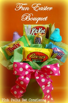 Pink Polka Dot Creations: How to make a fun Easter candy bouquet that is not only delicious to look at, but delicious to eat!