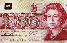 I saw one once when I was a kid! I Am Canadian, Canadian Coins, Canadian Dollar, Canadian History, 1000 Dollar Bill, Thousand Dollar Bill, Thousand Dollars, Coins Worth Money, Coin Worth