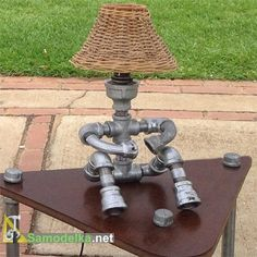 Лампы из водопроводных труб плетеный абажур