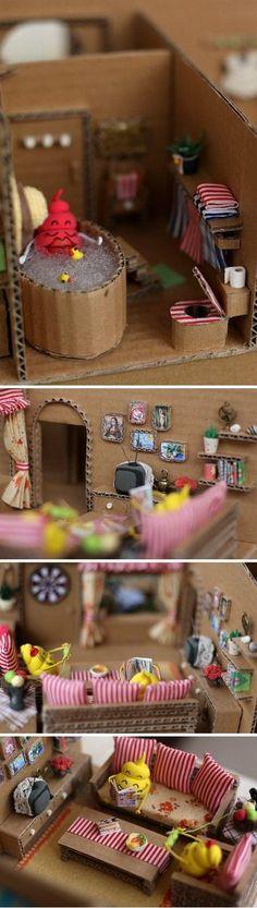 EL JARDIN DE LOS SUEÑOS: Casa de muñecas hecha de cartón corrugado