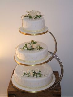 3 Tier Wedding Cakes in Cute Design 3 Tier Wedding Cakes, Wedding Cake Stands, Wedding Cake Decorations, Cool Wedding Cakes, Wedding Cake Designs, Wedding Cupcakes, Bolos Naked Cake, Different Types Of Cakes, Engagement Cakes