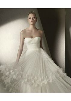 Ruched Bodice A-Line Gown with Tiered Draped Skirt Lucky Wedding Dress