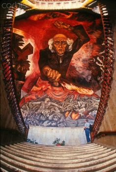 Father Hidalgo by Jose Clemente Orozco (famous Mexican muralist) Guadalajara, Mexico Latino Artists, Mexican Artists, Mexican Folk Art, Diego Rivera, Mural Painting, Light Painting, Clemente Orozco, Famous Mexican, Political Art