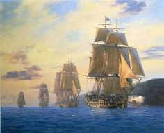 "Geoff Hunt Print - ""H.M.S. Agamemnon"" Nelson's first flagship leads the squadron, Mediterranean, 1796. Nelson flies his flag as a Commodore, commanding his first squadron. He had commanded the 64-gun battleship 'Agamemnon', the ship he referred to as his favourite, since 1793. Nelson was given a Commodore's pennant in March 1796, making 'Agamemnon' his first flagship, just before he transferred to the 74-gun 'Captain' in June that year. -- on ScrimshawGallery.com #GeoffHunt #Nelson #Navy"