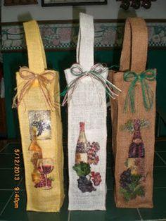 Bolsas de yute para botellas de vino