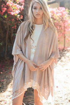 Dreamcatcher Lace Trim Kimono - Taupe