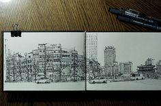 숭례문에서 명동으로 가는 길의 낡은 건물들 #seoul #숭례문 #urban #urbansketch #urbansketching #pendrawing #pendrawings #lineart #city #citydrawing #drawing #architecture #architecturedrawing