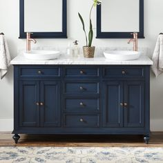 Buy the Signature Hardware 442230 Navy Direct. Shop for the Signature Hardware 442230 Navy Keller Double Vanity Set with Wood Cabinet, Marble Vanity Top, and Oval Undermount Sink - Faucet Holes and save. Vanity Sink, Diy Bathroom, Bathroom Furniture, Double Vanity Bathroom, Bathroom Makeover, Undermount Sinks, Blue Bathroom, Blue Bathroom Vanity, Bathrooms Remodel