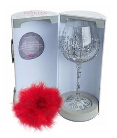 Lolita Love My Wine Glass and Super Bling Collection Wine Glass with Bottle Boa.Perfect for Christmas, holidays, birthdays, graduations, weddings, or any special occasion!
