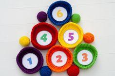 Easy Crochet Toys Pattern: Ball Toss Game - free at Winding Road Crochet Crochet Ball, Free Crochet, Crochet Dinosaur, Toss Game, Yarn Stash, Types Of Craft, Montessori Toys, Yarn Over, Crochet Blanket Patterns