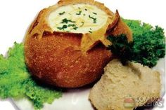 Receita de Sopa de 4 queijos no pão italiano - Comida e Receitas