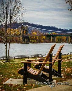 Wheeling Suspension Bridge Wheeling, West Virginia by J & J Digital Images