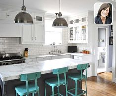 white kitchen with three blue-green metal stools pushed up against a marble topped island, with a small inset photo portrait of the designer at the top right of the image as part of the Designers' Favorite Basics gallery