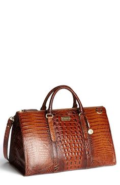 Semigloss, croc-embossed leather complemented by rich goldtone hardware elevates a roomy bag topped with rolled handles. Brahmin Handbags, Brahmin Bags, Purses And Handbags, Brown Handbags, Fashion Handbags, Fashion Bags, Beautiful Bags, Travel Bags, Travel Backpack