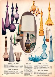Italian Glass, 1959 Sears catalog (these look a lot like some green ones my mother got for a wedding present) Vintage Advertisements, Vintage Ads, Vintage Decor, Vintage Pyrex, Mid Century Modern Decor, Mid Century Design, Vintage Bottles, Vintage Glassware, Viking Glass