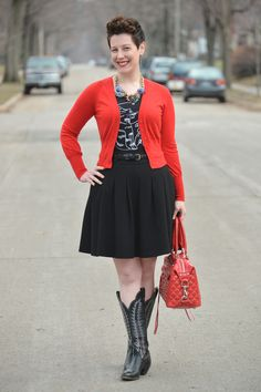 Already Pretty outfit featuring Feminist Apparel t-shirt, black full skirt, red cardigan, cowboy boots, Rebecca Minkoff studded MAB, stateme...