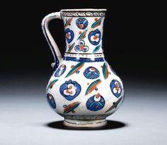 An Iznik Polychrome Cintamani Jug, Turkey, Circa 1575 Glazes For Pottery, Pottery Art, Glazed Tiles, Turkish Tiles, Islamic World, Pottery Designs, British Museum, Contemporary Artists, Ceramic Art