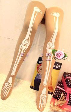 lady creepy pattern Tattoo Socks Tights Leggings Transparent Pantyhose Stockings