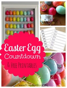 "Easter Egg (Advent-style) Countdown & Free Printables:  ""Today we will..."" activity slips or ""Today we pray for..."" slips to place inside each Easter egg"