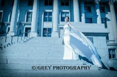wedding, bridal, bride, stairs, state capital, flowing dress. By Grey Photography
