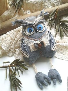 Sewing Art, Sewing Toys, Sewing Crafts, Crochet Projects, Sewing Projects, Azul Indigo, Owl Wreaths, Textile Sculpture, Denim Crafts