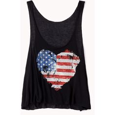 American Flag Heart Tank ($11) ❤ liked on Polyvore featuring tops, shirts, tank tops, blusas, usa flag shirt, american flag crop top, graphic tanks, cropped tank top and forever 21 shirts