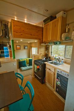 Sustainable building materials, solar panels, propane appliances, and a full bathroom set this tiny house apart from others while making it easy to live in. An off-grid ready, 200 square feet tiny house in Victor, Idaho. More info.