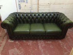 olive green 3 seater leather chesterfield