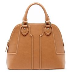 Sole Society Marlow Vegan Structured Dome Satchel ($60) ❤ liked on Polyvore featuring bags, handbags, cognac, satchel handbags, faux leather handbags, zippered faux leather satchel, faux leather purse and vegan purses