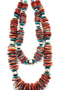 AT Spiny Oyster Disc Necklace  Spiny Oyster Disc, Turquoise, Sterling Silver Long: $575.00,   Short: $315.00