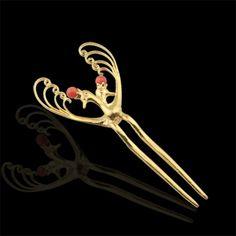 봉황 머리꽂이 Korean Traditional Clothes, Traditional Outfits, Hair Pins, Bobby Pins, Hair Accessories, Crown, Hairstyles, Beauty, Jewelry