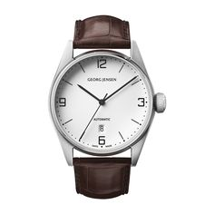 DELTA CLASSIC - 42 mm, Automatic mechanical, white dial, brown alligator strap