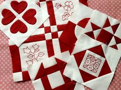 Dear Jane - 1-6  I love read and white quilts.  I would love to have a guest room decorated around the red and white quilt.